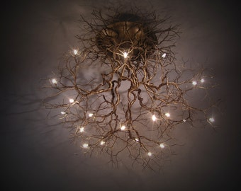 Roots Large ,Handmade ceiling light made of pewter wires. 10 branches 40 inches length