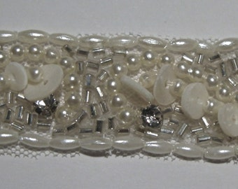 Crystal trim - couture quality - seed beads and mother of pearl sequins - priced per half yard