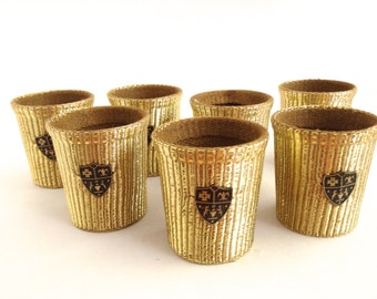 Mid Century Cup Cozies Gold Lame Coat of Arms Design Hollywood Regency Cocktail Holders