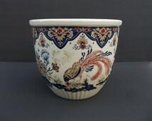 Vieux Rhodes BOCH Belgium Planter Lyrebird & Floral Vintage Pottery Ceramic Art