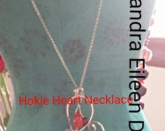 HOKIE Open Heart Artisan Pendant - Customized - Personalized Jewelry