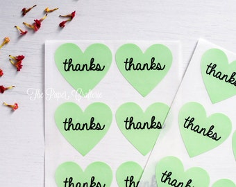 Light Green Heart Thanks Sticker Label Seal - Pack of 60