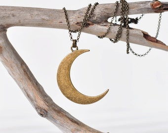 Crescent Moon Necklace in Bronze. Customize Your Chain Length. Bronze Moon Necklace. Bohemian Necklace. Long Layering Necklace. Boho Jewelry