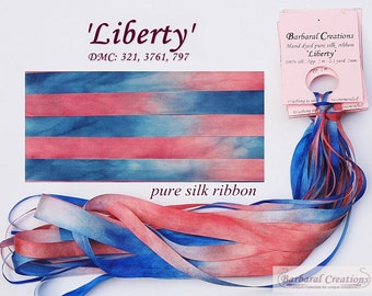 Hand dyed 13 mm wide pure silk ribbon, soie de ruban - 'Liberty'