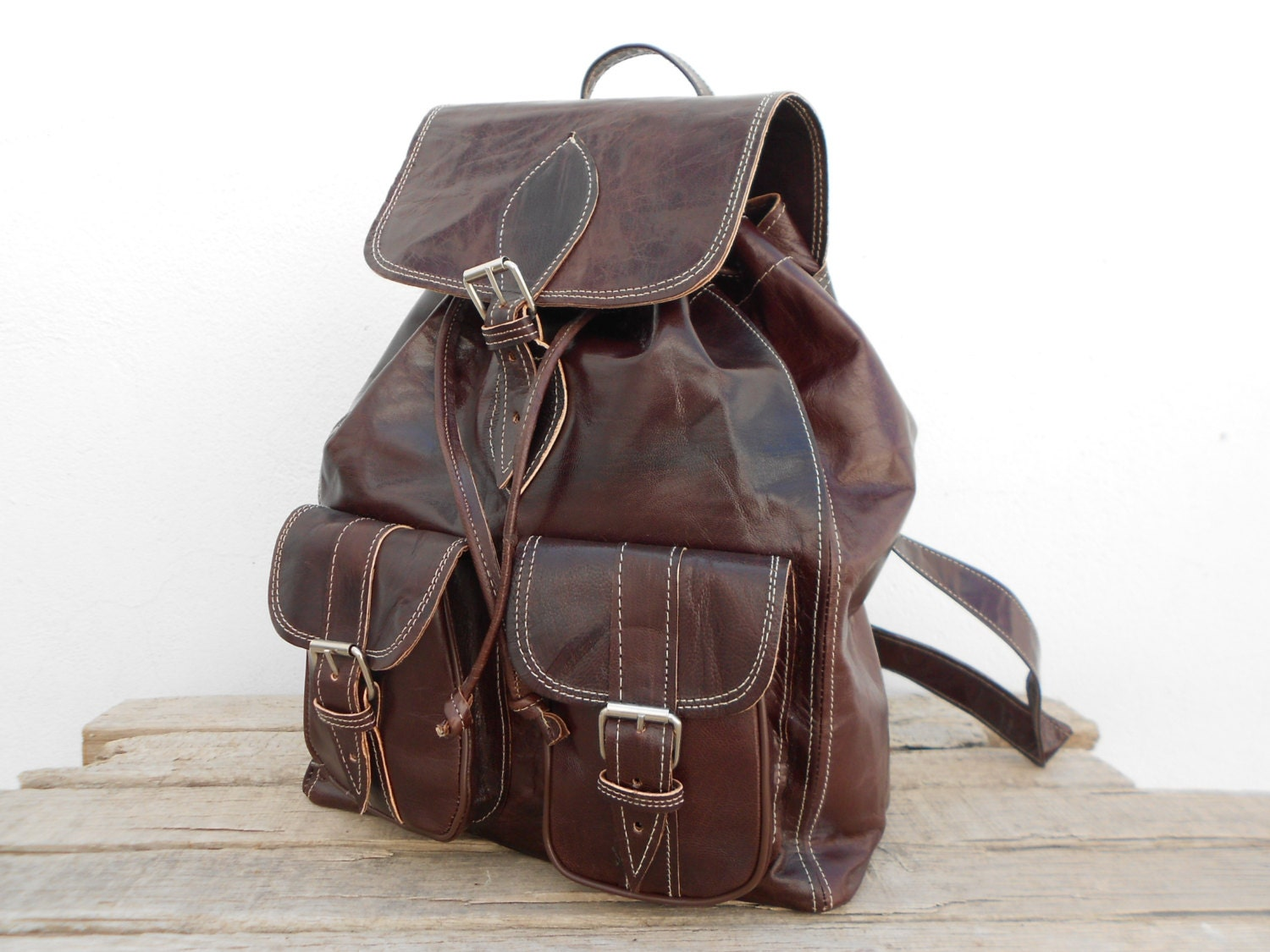 Brown Faux Leather Backpack Brown Leather Backpack For