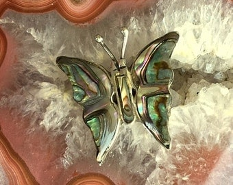 Butterfly Pin/Brooch - Vintage Abalone and Sterling Silver  - Signed
