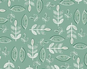 Half Yard - 1/2 Yard - Leaf in Teal - SOPHIA by Makower UK for Andover