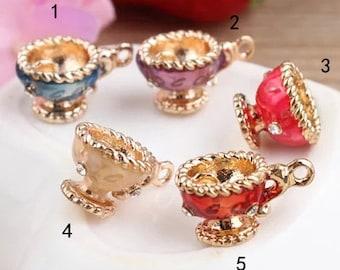 10 pcs of antique gold  wine glass colorful charm pendants 10x14mm
