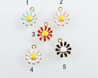 10 pcs of antique gold colorful little chrysanthemum charm pendants 10x15mm