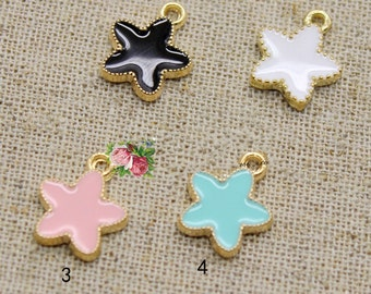 10 pcs of antique gold color five-pointed star drop oil charm pendants 12x12mm