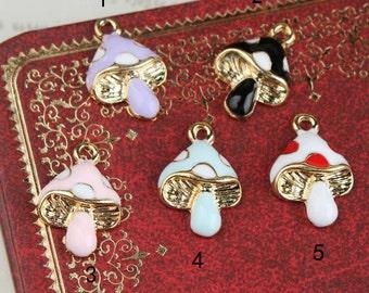10 pcs of antique gold colorful little mushroom charm pendants11x16mm