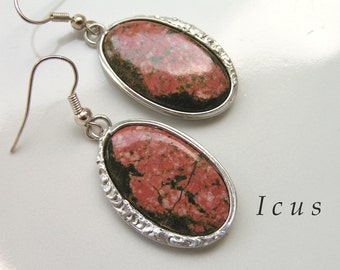 Unakite natural stone Eearrings made by Tiffany techniqu