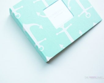 Free shipping. Free Shipping* Mint Anchors Modern Baby Book. baby keepsake. toddler keepsake. baby shower present. memory book.