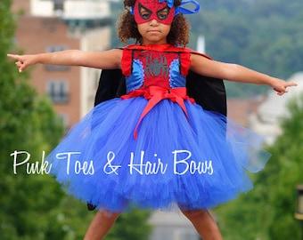 Spider girl costume- spider girl tutu costume- spider man costume dress- spiderman dress-spiderman tutu