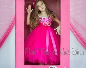 Barbie Dress- Barbie Tutu Dress-Barbie tutu-Barbie Birthday Dress