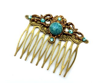 Antique hair comb in turquoise bronze festive hair jewelry vintage bridal