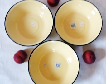 Vintage Soviet Enamel Bowl - Made in USSR- soviet - Shabby Chic- Decorated - Kitchen Decor