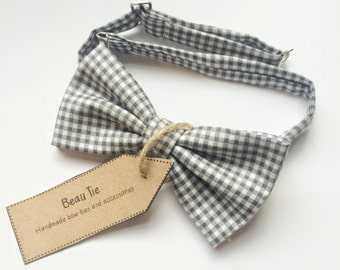mens bow tie grey gingham, grey bow tie, gingham bow tie, cotton bow tie
