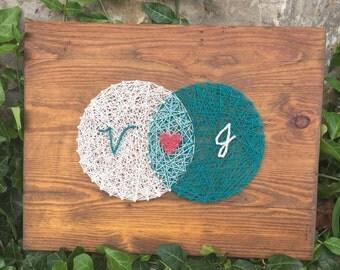 Made to order: Couples sign, String art, Venn diagram string art