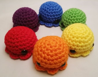 Rainbow Amigurumi Octopus Large: Made to Order