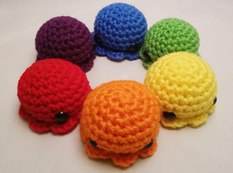 How To Crochet Amigurumi Arms : Rainbow Amigurumi Octopus Large: Made to Order