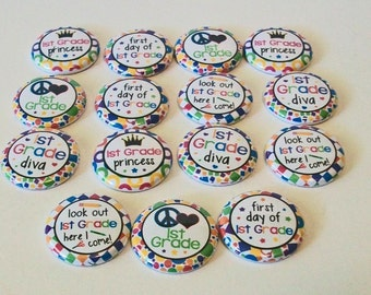Set of 15 Back to School First Grade Princess 1 Inch Flat Back Embellishments Buttons Flair Great for Bow Making