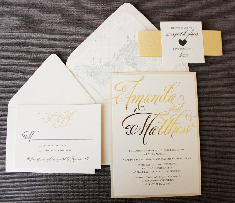 Love Brings You Home Wedding Invitation Map Travel Theme