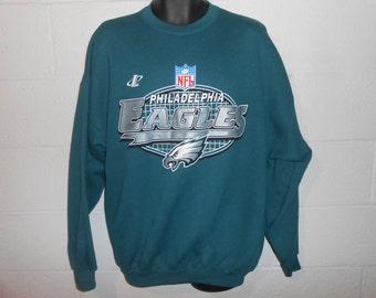 Vintage Green Philadelphia Eagles Logo Athletic Gridiron Crewneck Sweatshirt XL