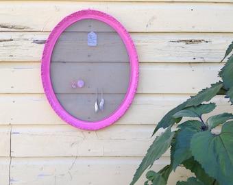 Sweet bubblegum pink large oval jewelry display frame