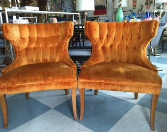Pair Mid Century Modern Tufted Slipper Chairs