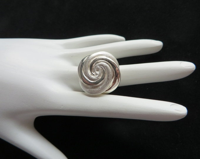 Italian Silver Ring, Vintage Sterling Silver Chunky Swirl Ring,  Signed ITAOR Italy Statement Ring, Size 5