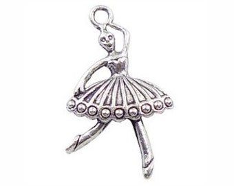 10 Silver Ballerina Charm Ballet Pendant 34x21mm by TIJC SP0541
