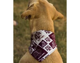 Texas A&M Aggies, Maroon and White Reversible Dog Bandana with Footballs