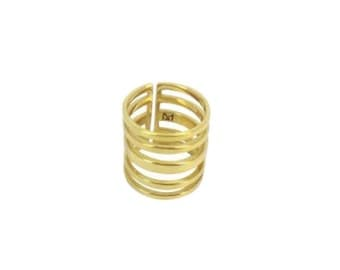 Online graphic lace 'Score' vermeil ring