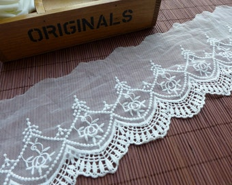 """Off white Lace, Mesh Fabric, Cotton Embroidered Lace Trim, 4.7"""" wide 2 yards"""