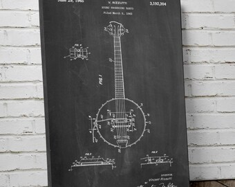 Banjo Canvas Patent Art Print, Banjo Art, Music Room Decor, PatentPrints, Canvas Print, PP0242