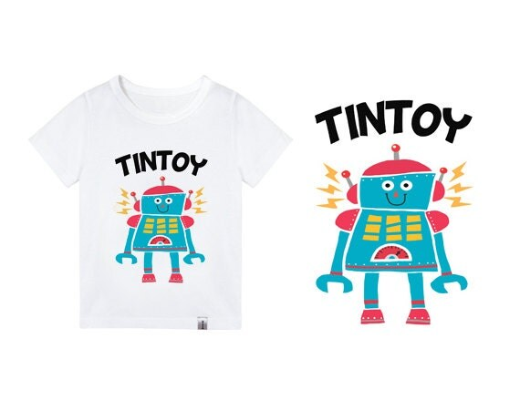 Robot t shirt for kids graphic tee funny baby t shirts 3t 7t for Graphic t shirts for kids