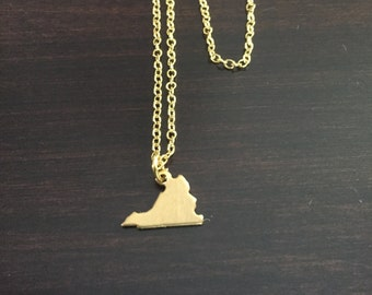 Virginia Necklace, Virginia, gold Virginia necklace, Virginia jewelry, Virginia pendant, state necklace, state jewelry, gold necklace
