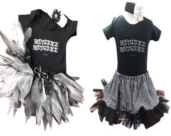 Baby Halloween Horror Night Costumes Beetlejuice Nightmare Mummy Toddler Tutu Skirt Rhinestone Top