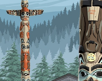 Alaska - Saxman Totem Village (Art Prints available in multiple sizes)