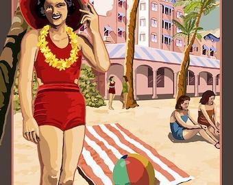 Hawaii - Royal Hawaiian Hotel (Art Prints available in multiple sizes)