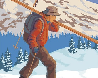 Skier Carrying Snow Skis - Mount Hood, OR (Art Prints available in multiple sizes)