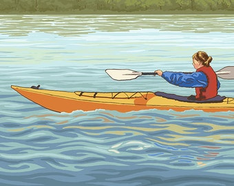 Kayak (Female Version) (Art Prints available in multiple sizes)