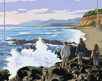 San Simeon State Park - Beach Scene - California (Art Prints available in multiple sizes)