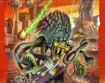 Seattle Alien Attack (Art Prints available in multiple sizes)