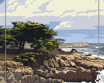 Cayucos, California - Rocky Shore (Art Prints available in multiple sizes)