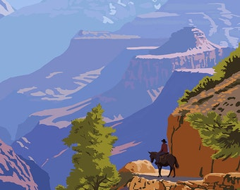 Grand Canyon National Park - Bright Angel Trail (Art Prints available in multiple sizes)