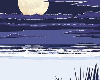 Lake Michigan - Full Moon Night Scene (Art Prints available in multiple sizes)