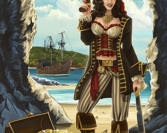 Outer Banks, North Carolina - Pirate Pinup Girl (Art Prints available in multiple sizes)