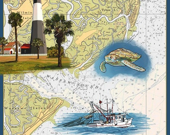 Tybee Island, Georgia - Nautical Chart (Art Prints available in multiple sizes)